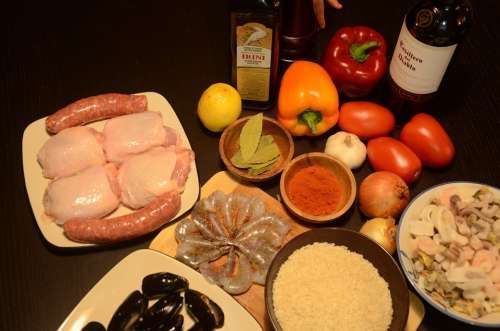 Spanish Cuisine Paella Wine Kitchen Ingredients