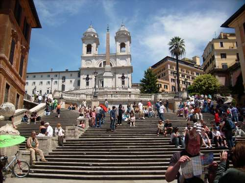 Spanish Steps Rome Stairs Building Architecture