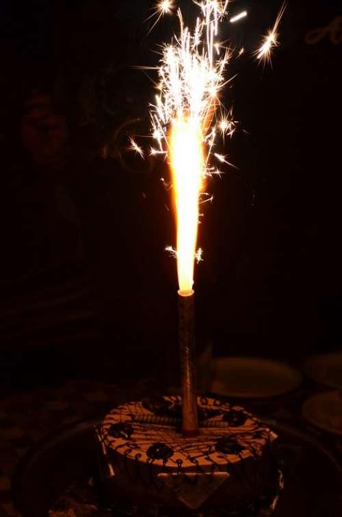 Sparkles Cake Candle Party Happy Birthday Birthday