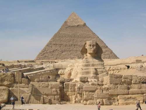 Sphinx Pyramids Cheops Chephren Cairo Travel