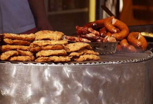 Spit Food Eating Chops Sausage Baked Breaded