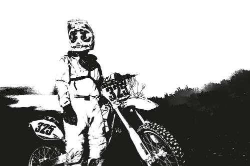 Sport Chalk Drawing Cross Motocross Motorcycle