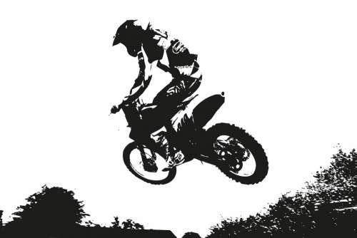 Sport Jump Cross Motocross Mural Motorcycle