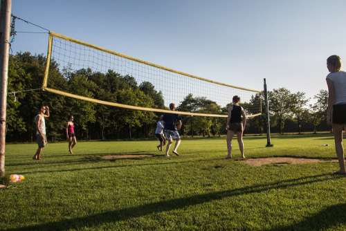 Sports Volleyball Sportive Sunny Field Game Play