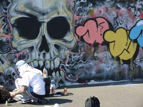 Sprayer Man Graffiti Street Art Backdrop Colorful