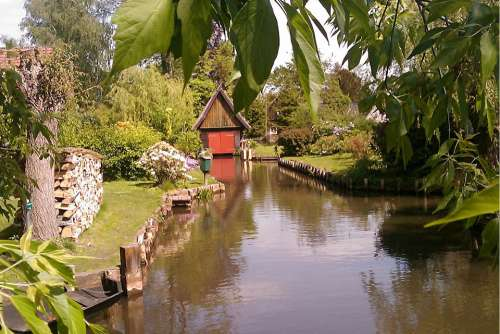 Spreewald River Boat House Scale Nature Idyll