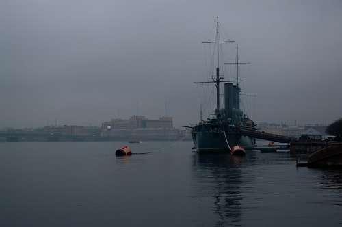 St Petersburg Russia Neva Fog Twilight Cruiser