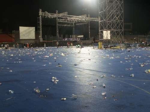 Stadium After Concert Stadium Concert Litter