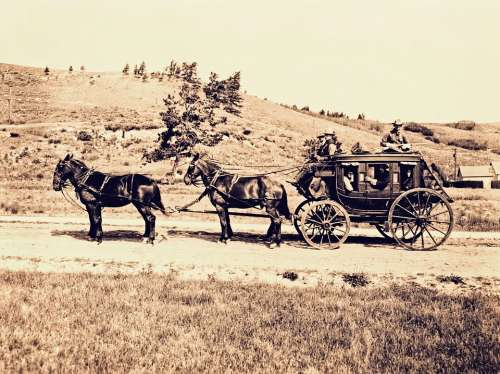 Stagecoach Horse Cart Western Vintage