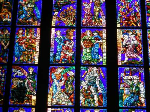 Stained Glass Window Church Christ Inside Light