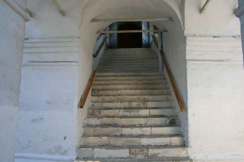 Staircase Steps Headrailings White Wall Building