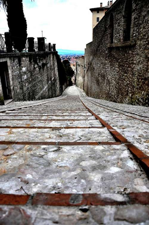 Stairs Borgo Italy Umbria Ancient Spoleto