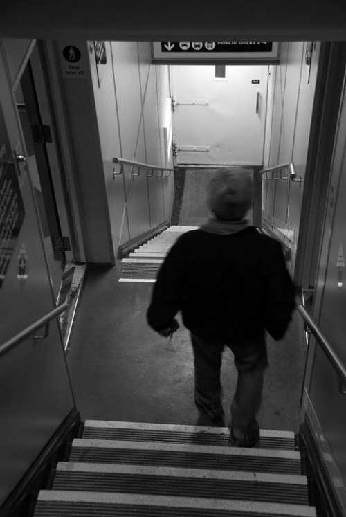 Stairs Walking Man Down Downstairs Senior