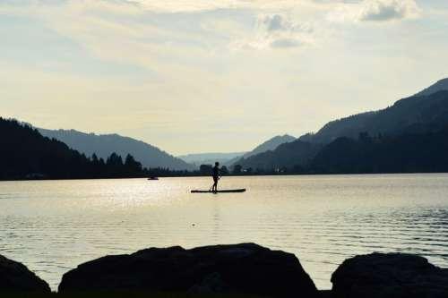Stand Paddle Lake Alpsee Immenstadt Allgäu