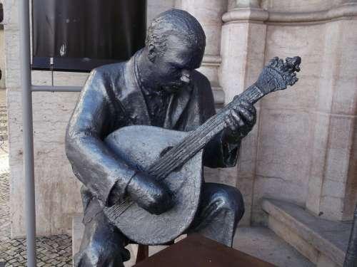 Statue Fado Singer Man Guitar Lisbon Fado