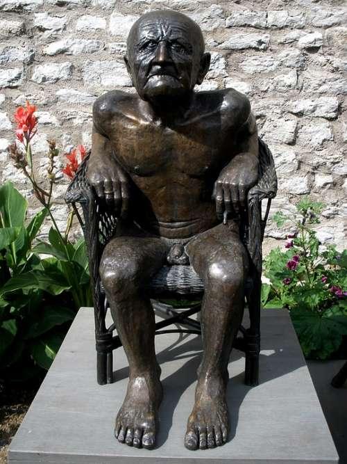 Statue Artwork Naked Man Age Grandpa Bronze