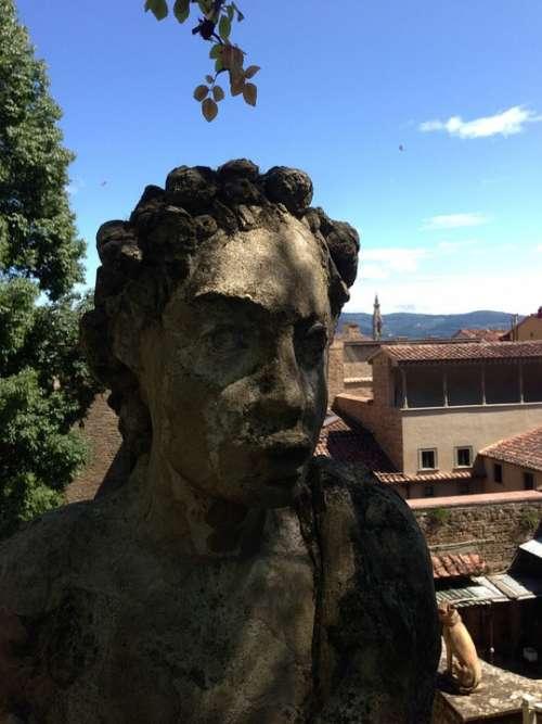 Statue Bust Landscape Florence Art Tuscany