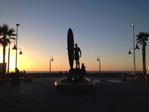 Statue Surfer California Tropical Summer Nature