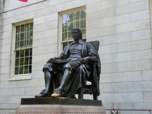Statue Monument John Harvard Usa Boston Harvard