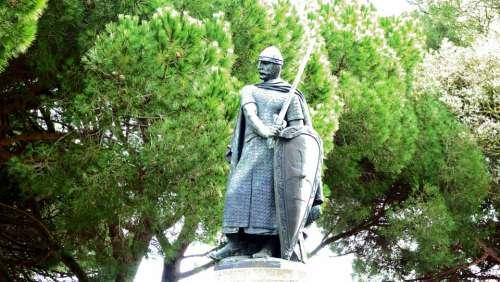 Statue Knight Sword Male Sculpture Lisbon