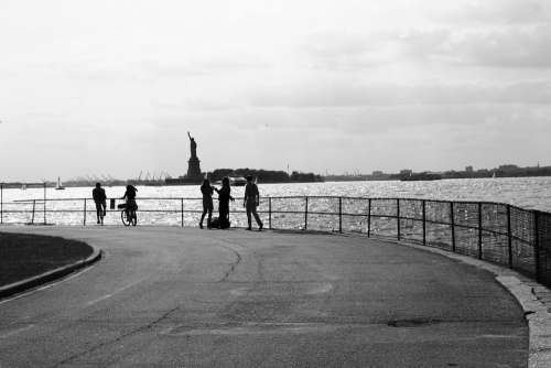 Statue Of Liberty Black And White American
