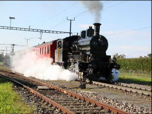 Steam Locomotive Railway Train Railway Station