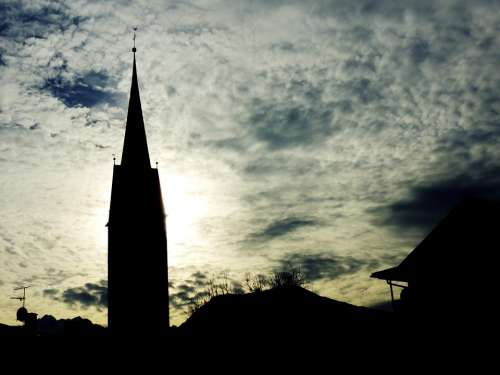Steeple Church Backlighting Religion God