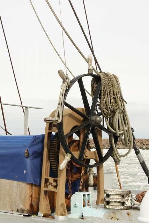 Steering Wheel Helm Ship Sailing Boat Shallows