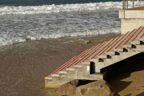 Steps Concrete Beach Sea Ocean Sand Australia