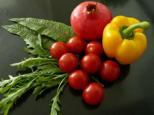 Still Life Paprika Tomato Pomegranate Lettuce