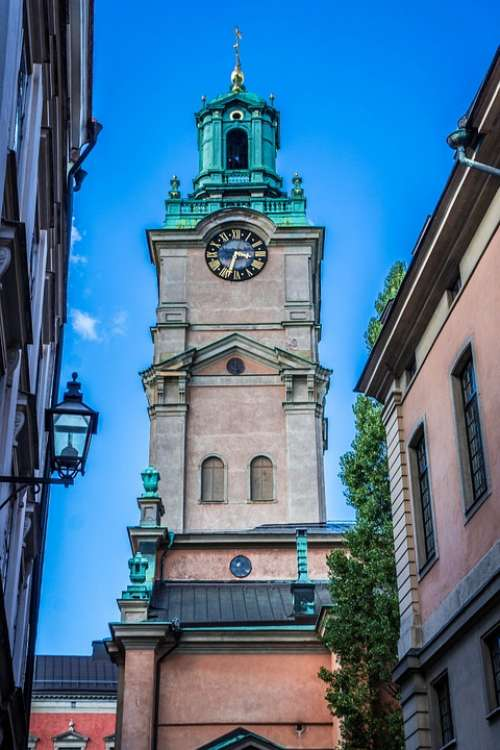 Stockholm Church Clock Tower Sweden City