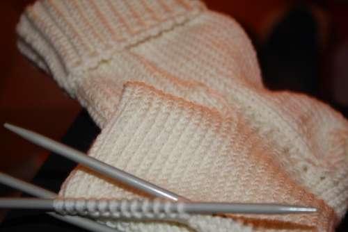 Stocking Knit Wool White Knitting Needles