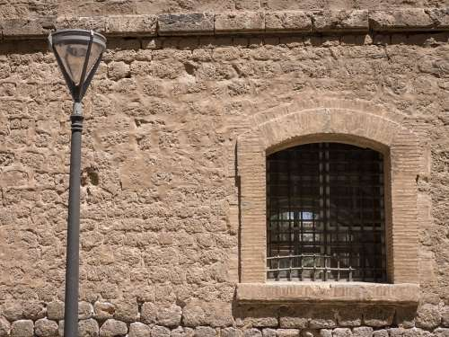Stone Wall Facade Street Lamp Window Cities Urban