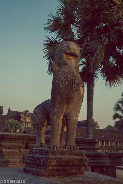 Stone Statue Lion Sculpture Historical Beautiful
