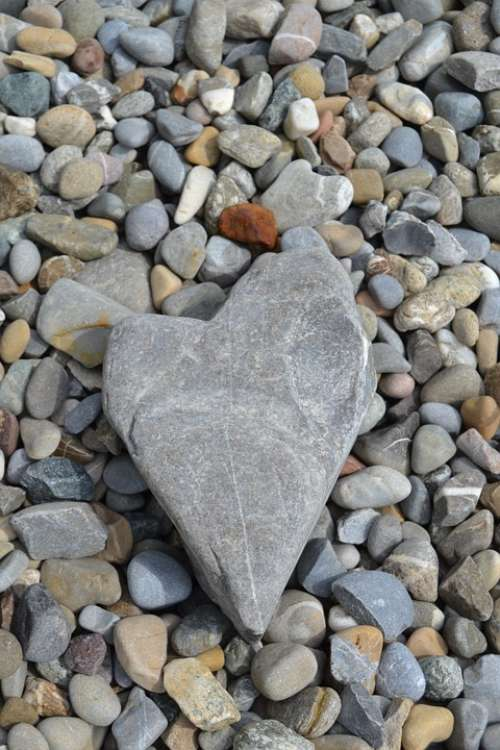 Stone Heart Beach Love Romantic Stones