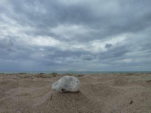 Stone Sea Blue Sky Landscape Costa Clouds Sand