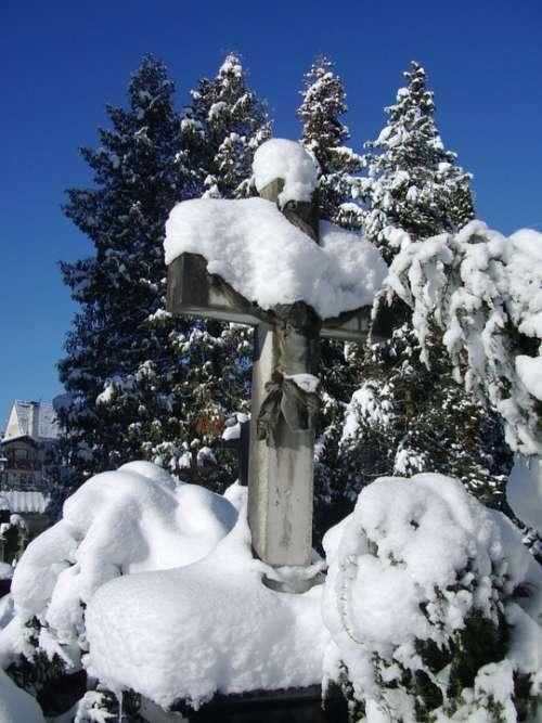 Stone Cross Grave Tomb Snow Cover Sky Blue Winter