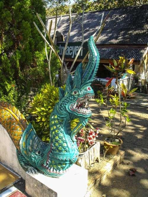Stone Figure Sculpture Dragon Temple Thailand