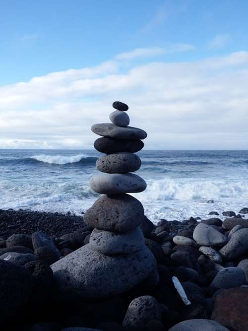 Stone Tower Balance Recovery Relaxation Beach