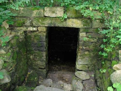 Stone Wall Doorway Vines Moss Entrance Door