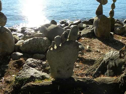 Stones Sculpture Zurich Lake Balance Meditation