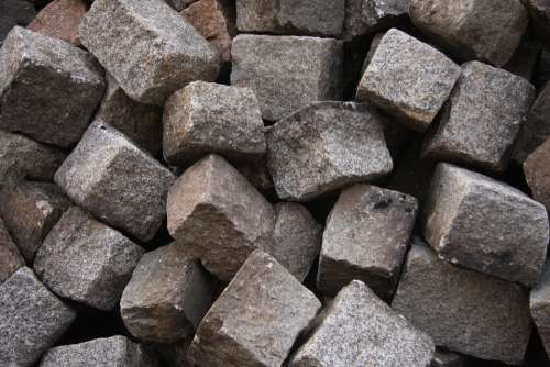 Stones Granite Small Patch Paving Stones Grey Pile