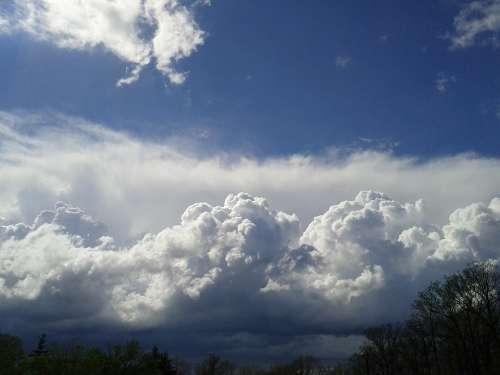 Storm Cloud Sky Blue White Landscape Background