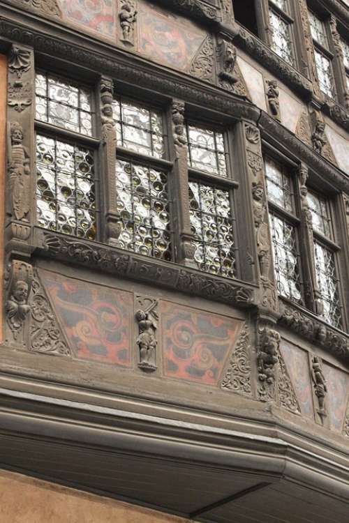 Strasbourg Studs House Facade Alsace Heritage