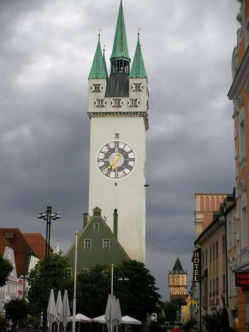 Straubing Germany Clock Bell Tower People Chimes