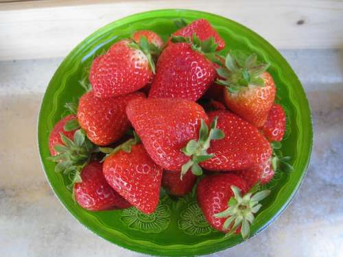 Strawberries Red Barrel Glass Green Table
