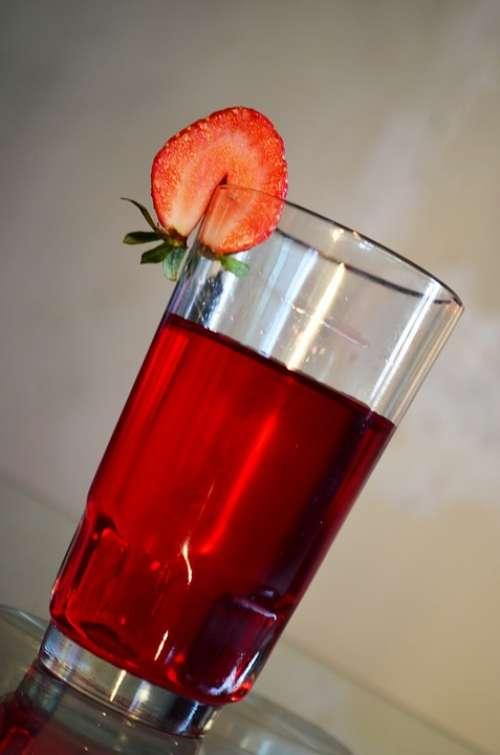 Strawberry Drink Beverage Glass Juice Food Fruit