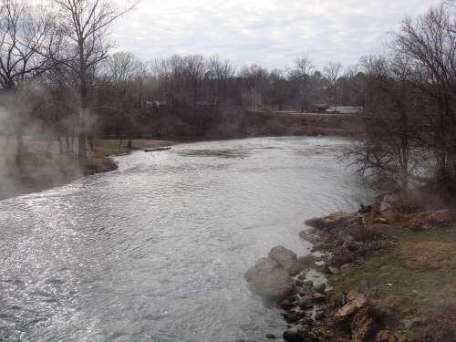 Stream River Riverbank Trees Creek Flow Flowing
