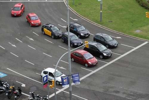 Street Roundabout Cars Barcelona Spain