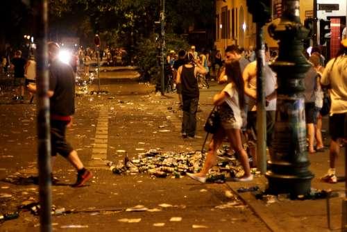 Street Festival Garbage Berlin Night Night Life